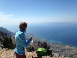 Even van het uitzicht genieten vanaf Aenos